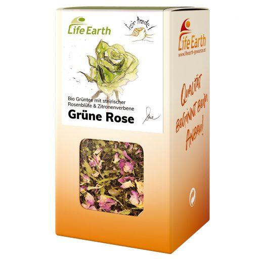 Bio Grüntee Rose von Life Earth in der Schachtel