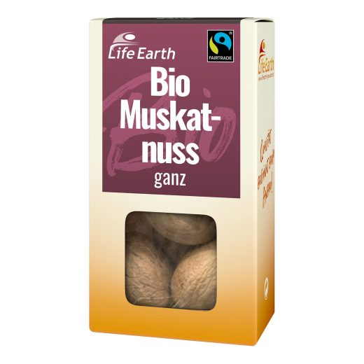Fairtrade Bio Muskatnuss ganz von Life Earth Verpackung