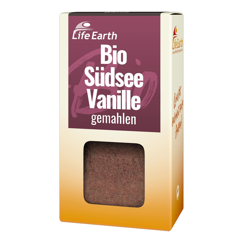 Bio Vanille gemahlen von Life Earth in der Verpackung