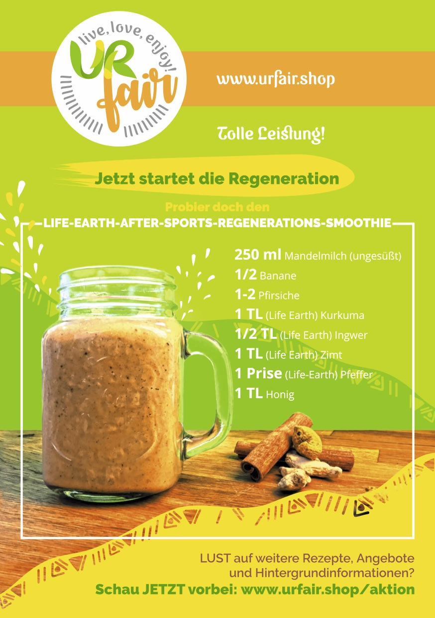 Fairness Run 2018 URfair Flyer Rückseite mit Smoothie-Rezept