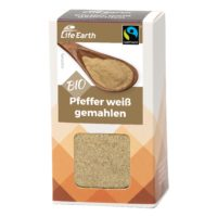 Fairtrade Bio Pfeffer weiß gemahlen von Life Earth Verpackung