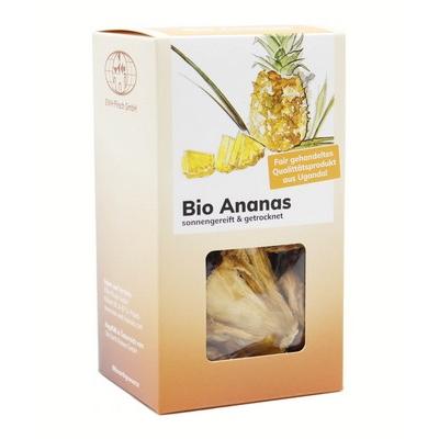 Bio Ananas getrocknet von BioUganda in der Schachtel