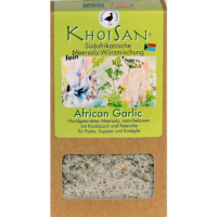 "Fairtrade Meersalz Knoblauch ""African Garlic"" in der Verpackung"