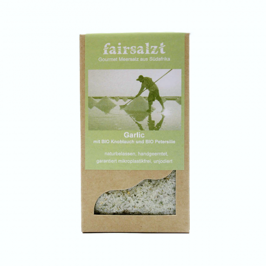 """Fairtrade Meersalz Knoblauch """"Garlic"""" von fairsalzt in der Schachtel"""