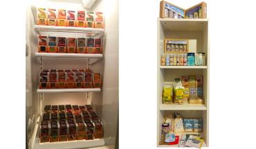 URFair Shop Selbstabholung Sortiment Life Earth Gewürze im Kühlschrank-Regal & Khoi San Salze, Bio Uganda Trockenfrüchte & Cards from Africa Grußkarten im Regal