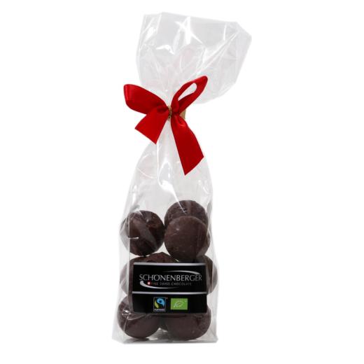 Fairtrade Bio Espresso Pralinen mit Zartbitter- und Vollmilchschokolade von Schönenberger aus der Schweiz im Cellophanbeutel