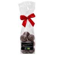 Fairtrade Bio Nougat Pralinen mit weißer und Vollmilchschokolade von Schönenberger aus der Schweiz im Cellophanbeutel