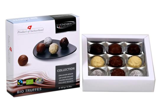 Schönenberger Bio Fairtrade Truffes Schokolade Pralinen aus der Schweiz: Produktbeispiel