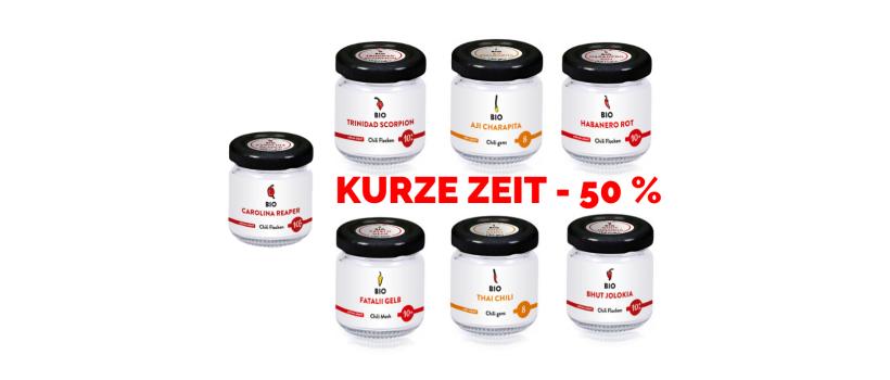 Banner für die URfair Chili Shop Aktion: -50% auf alle Chilis von Biogemüse Hautzinger!