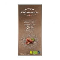 Haselnuss Schokolade Vegan 35% Kakao: Bio und Fairtrade von Schönenberger aus der Schweiz