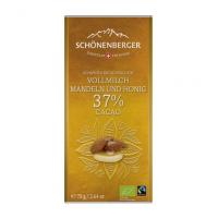 Vollmilch-Schokolade Mandeln & Honig 37% Kakao: Bio und Fairtrade von Schönenberger aus der Schweiz