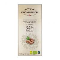 Weiße Schokolade Mandel Vegan 34% Kakao: Bio und Fairtrade von Schönenberger aus der Schweiz